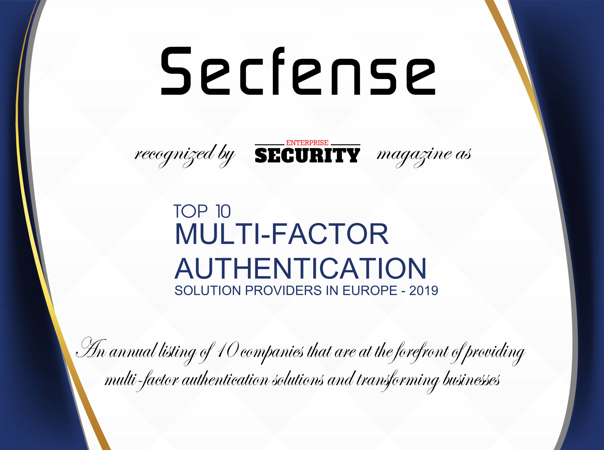 Secfense Recognized as One of the Top 10 Multi-Factor Authentication Solution Providers