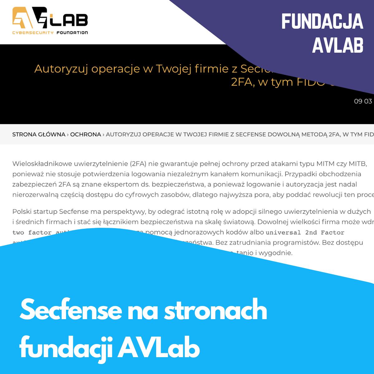 Secfense na stronach fundacji AVLab