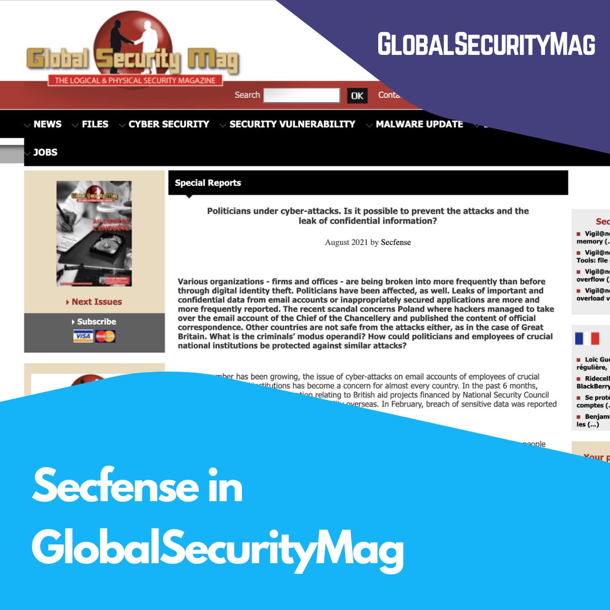 Secfense in GlobalSecurityMag
